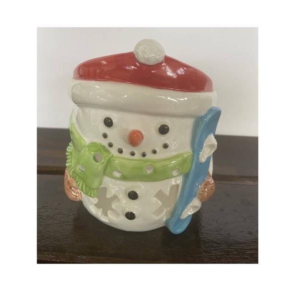 Yankee Candle Snowman Snowboard Jar Candle Holder